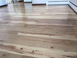 natural hickory floor in living room