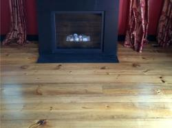heart pine wood flooring in living room