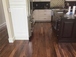 kitchen with prefinished walnut wood flooring