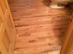 natural red oak in bathroom