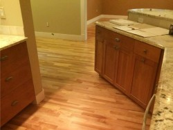 kitchen with american cherry wood flooring