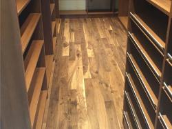 pre finished walnut flooring in walk in closet